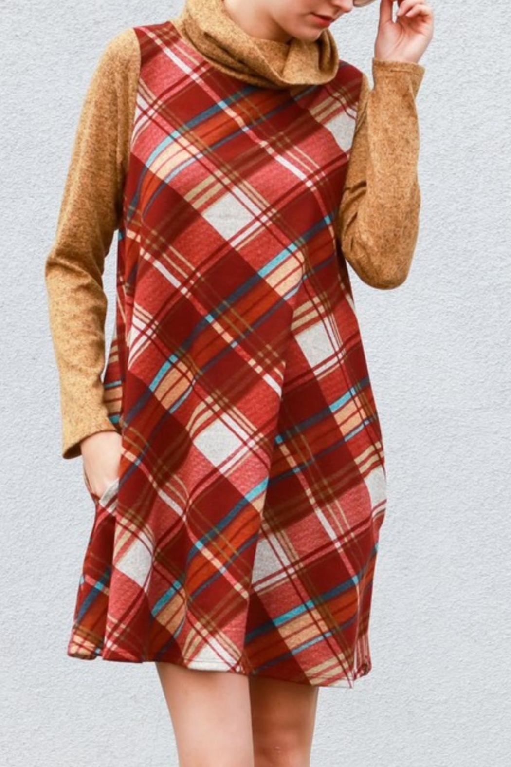 My Story Plaid Cowlneck Dress - Back Cropped Image