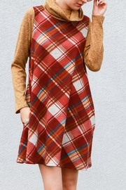 My Story Plaid Cowlneck Dress - Back cropped
