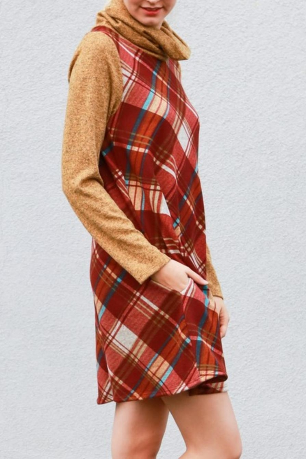 My Story Plaid Cowlneck Dress - Front Full Image