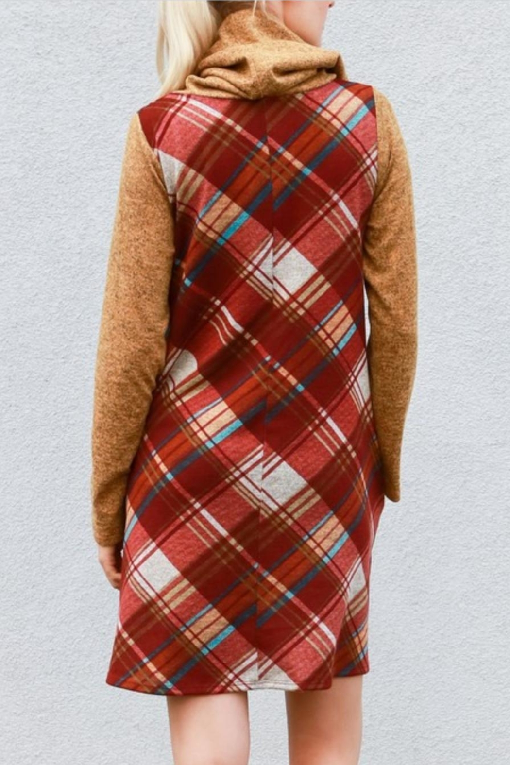 My Story Plaid Cowlneck Dress - Side Cropped Image