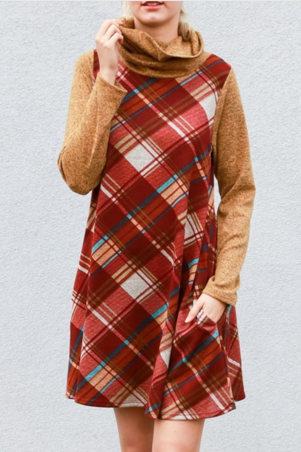 My Story Plaid Cowlneck Dress - Main Image
