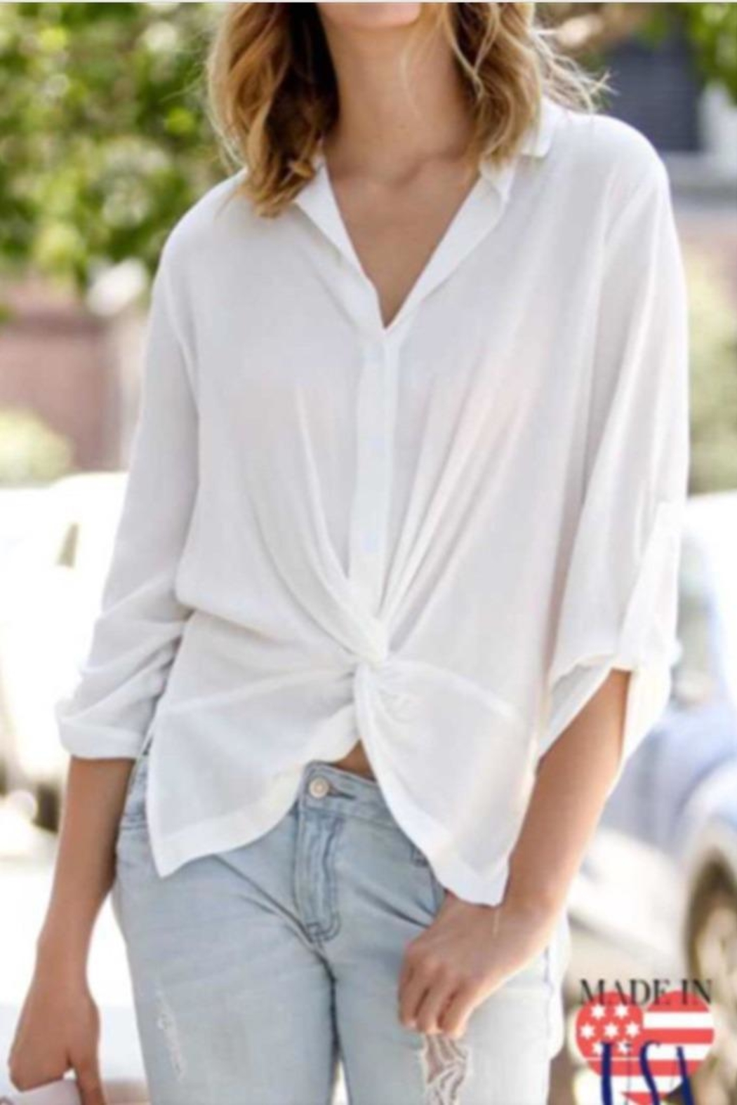 My Story White Cinched Blouse - Main Image