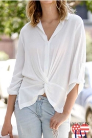 My Story White Cinched Blouse - Front cropped