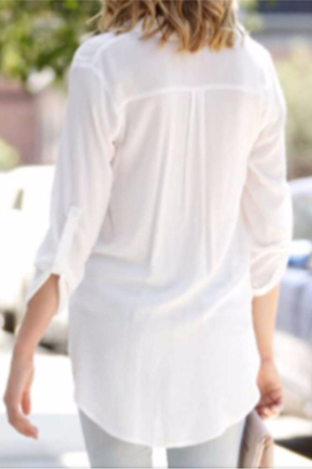 My Story White Cinched Blouse - Front Full Image