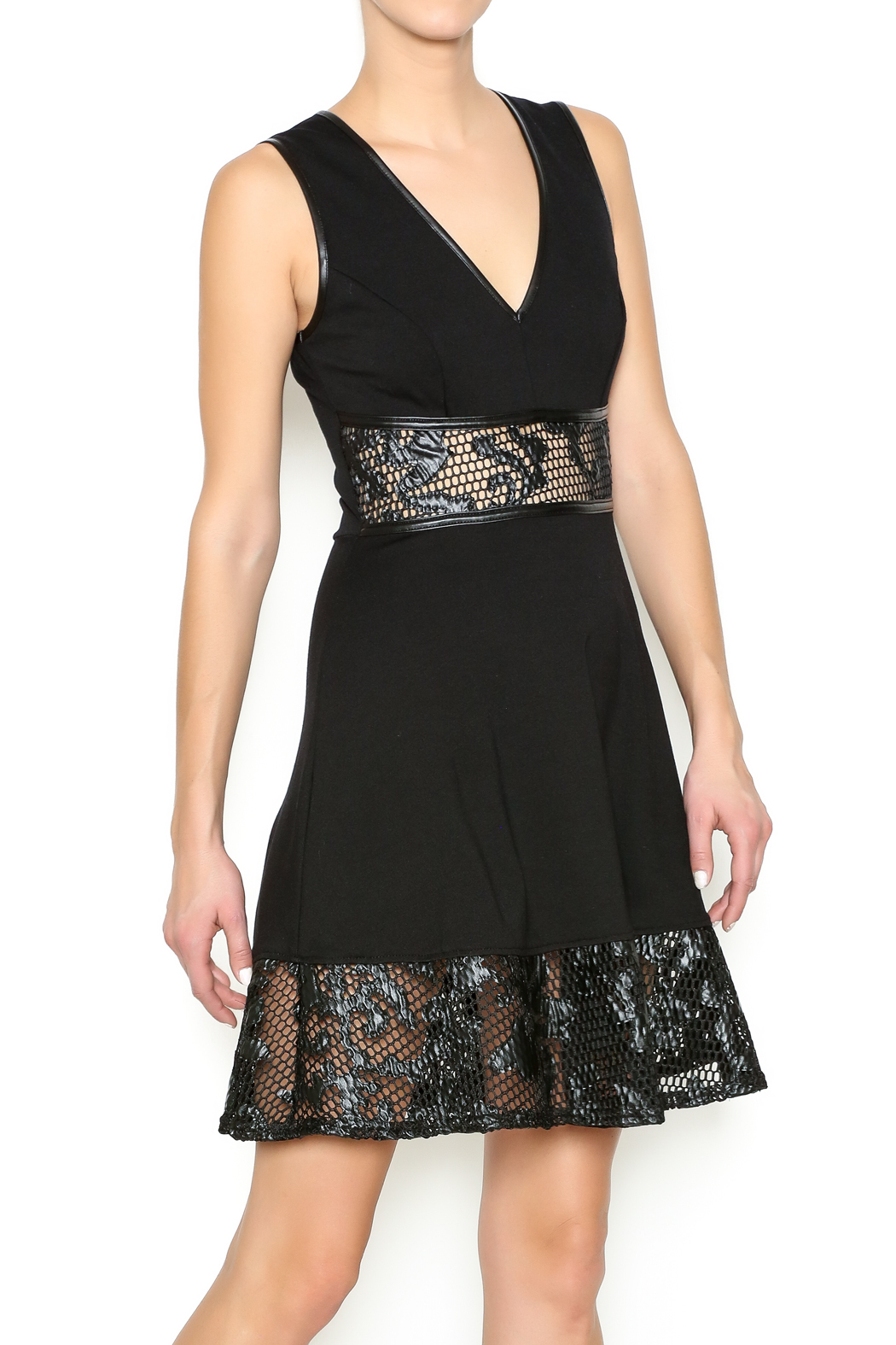 Mystic Faux Leather Applique Dress - Front Cropped Image
