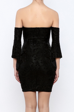 Shoptiques Product: Burnout Velvet Off shoulder Dress