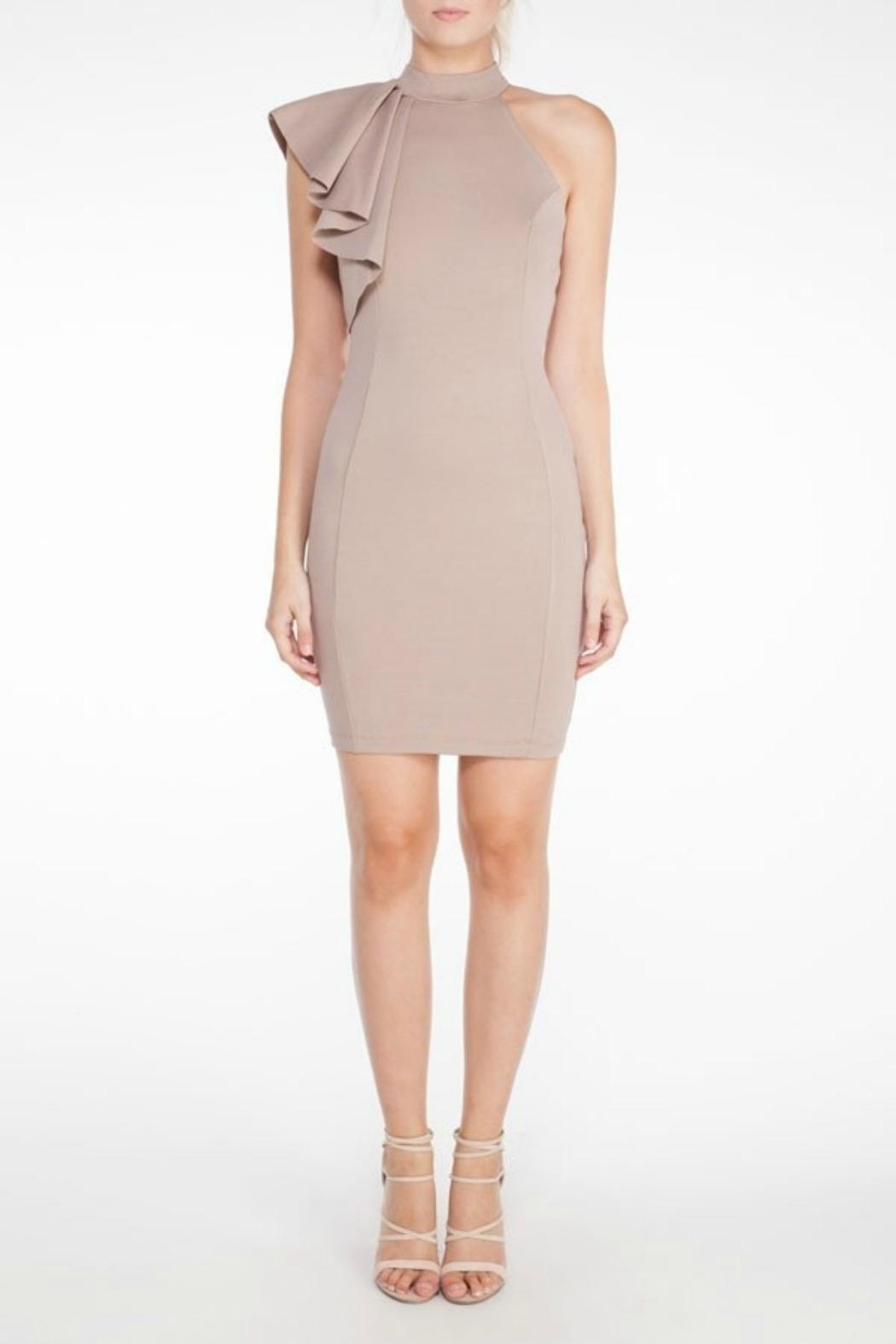 Mystic Ruffle Bodycon Dress - Front Cropped Image