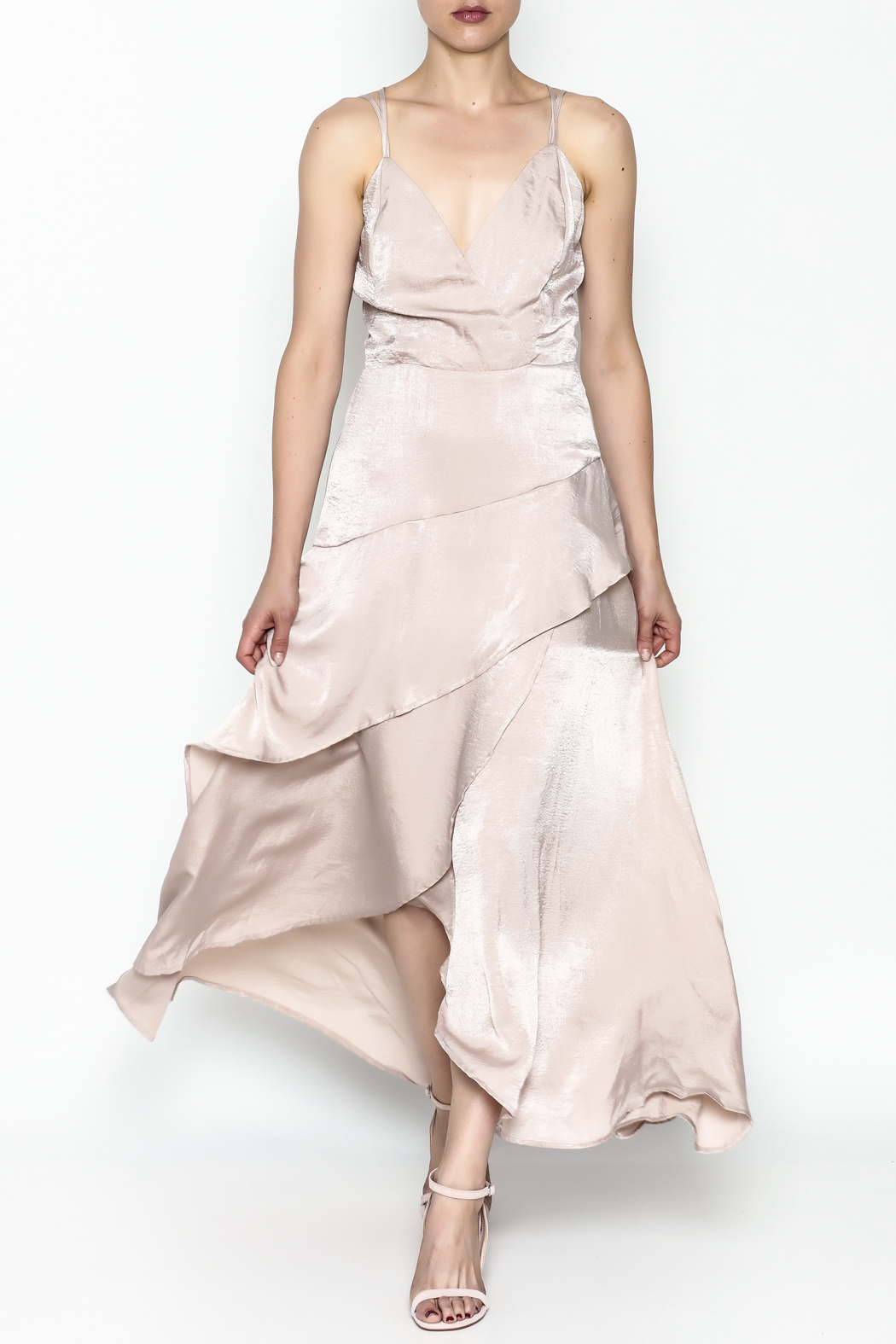 Mystic Satin Maxi Dress - Front Cropped Image