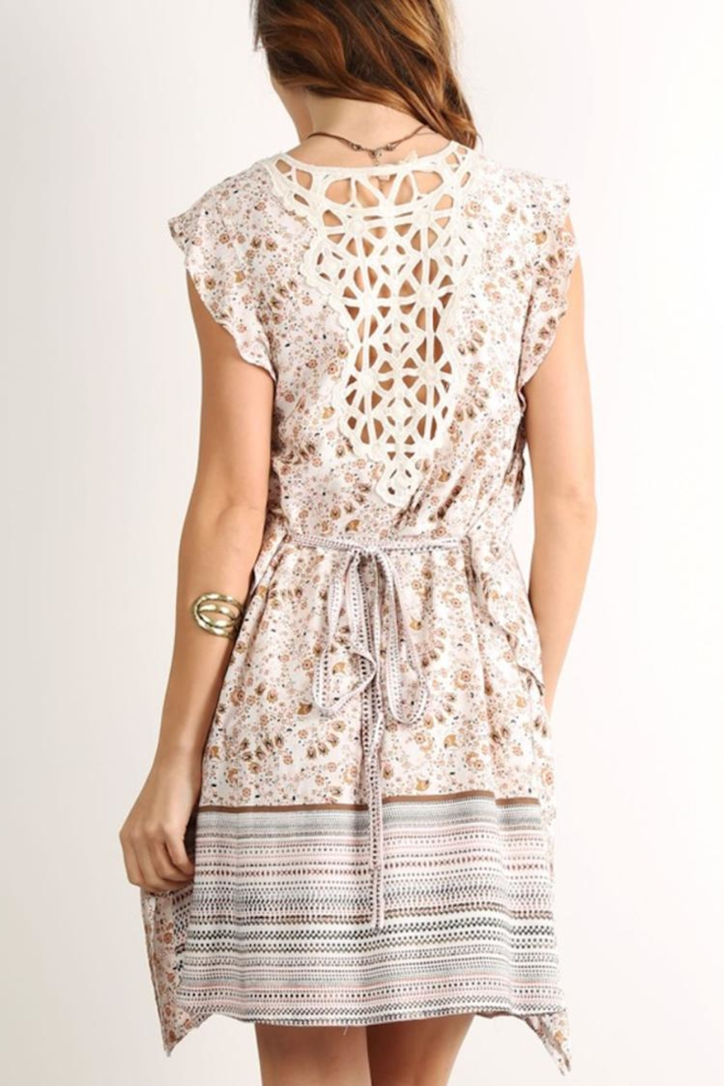 Mystree Back Lace Dress - Front Full Image