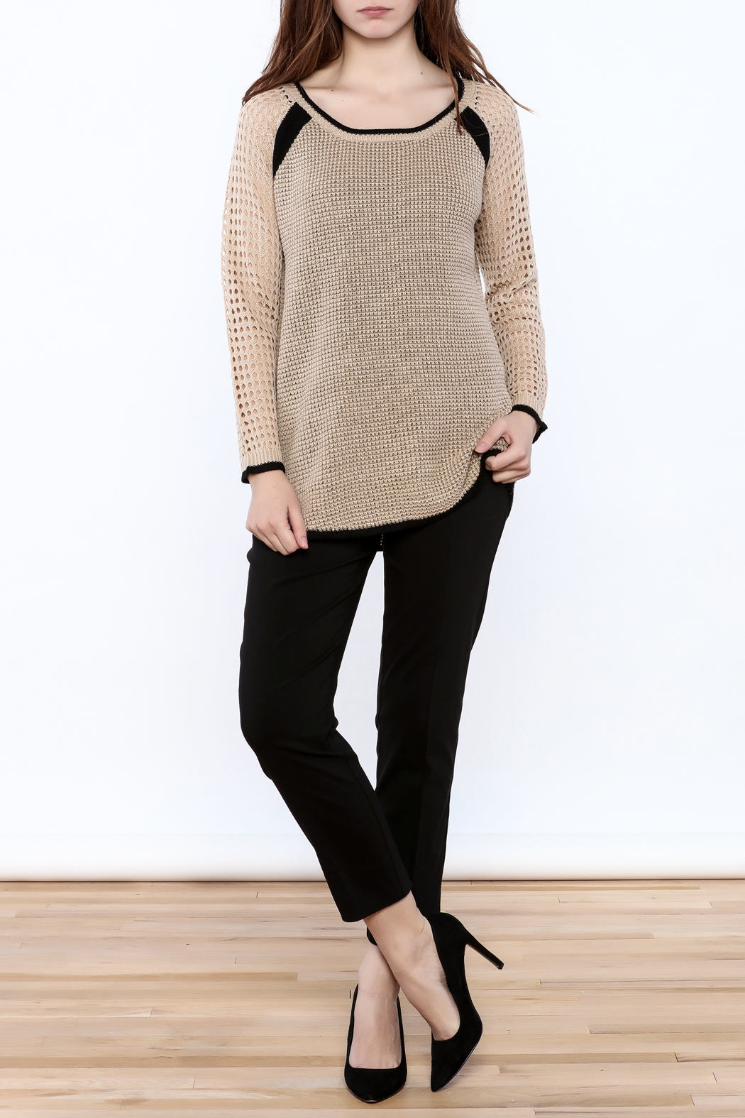 Mystree Beige Long Sleeve Sweater - Front Full Image
