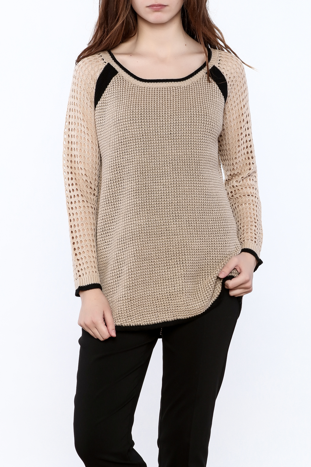 Mystree Beige Long Sleeve Sweater - Main Image