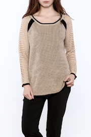 Mystree Beige Long Sleeve Sweater - Front cropped