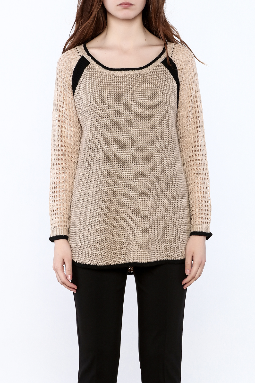 Mystree Beige Long Sleeve Sweater - Side Cropped Image