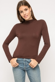 Mystree Brown Mock-Neck Long-Sleeve - Front cropped
