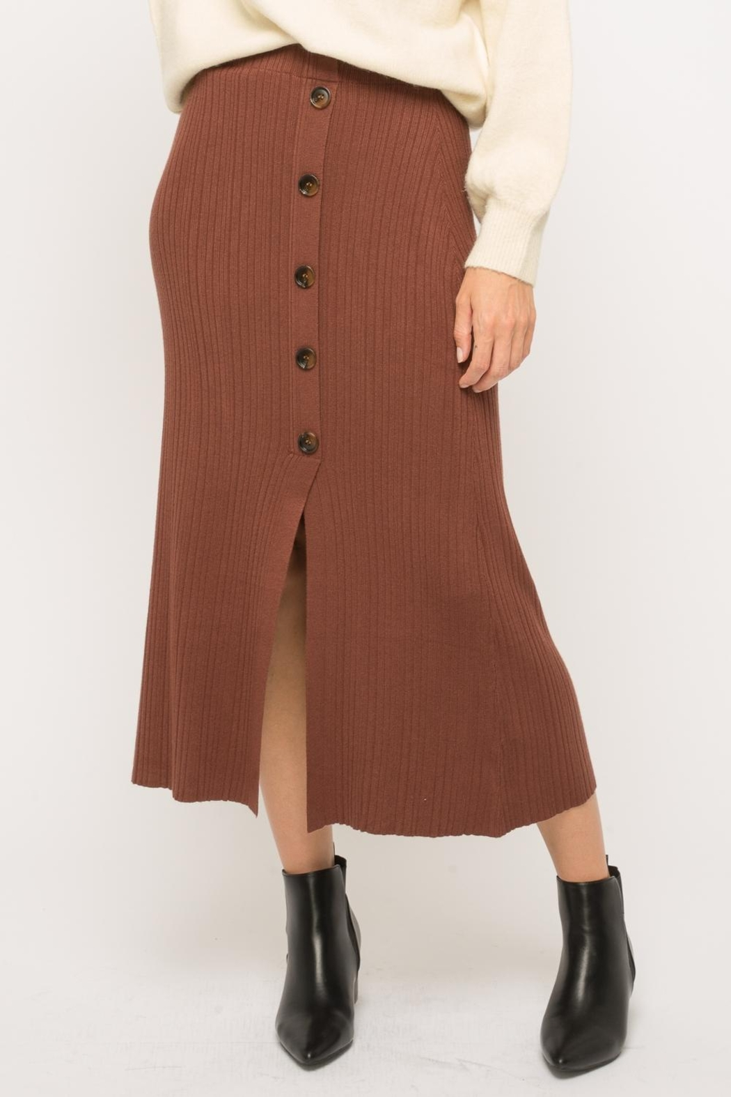 Mystree Button-Up Midi Skirt - Front Full Image