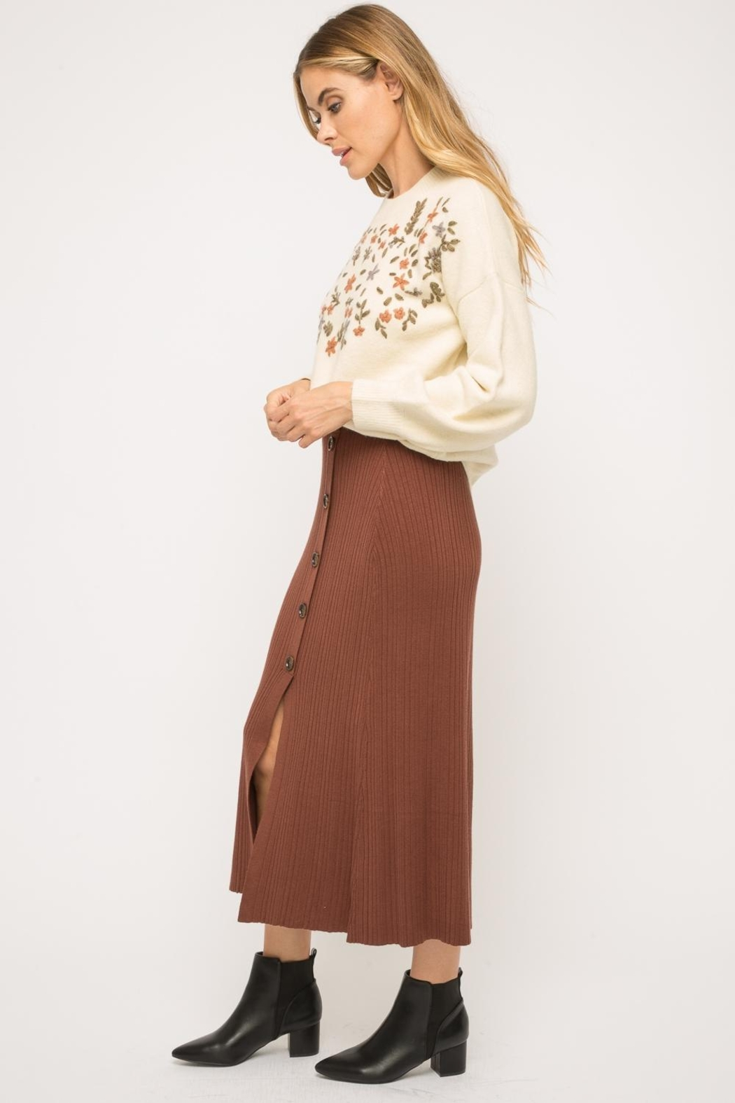 Mystree Button-Up Midi Skirt - Side Cropped Image