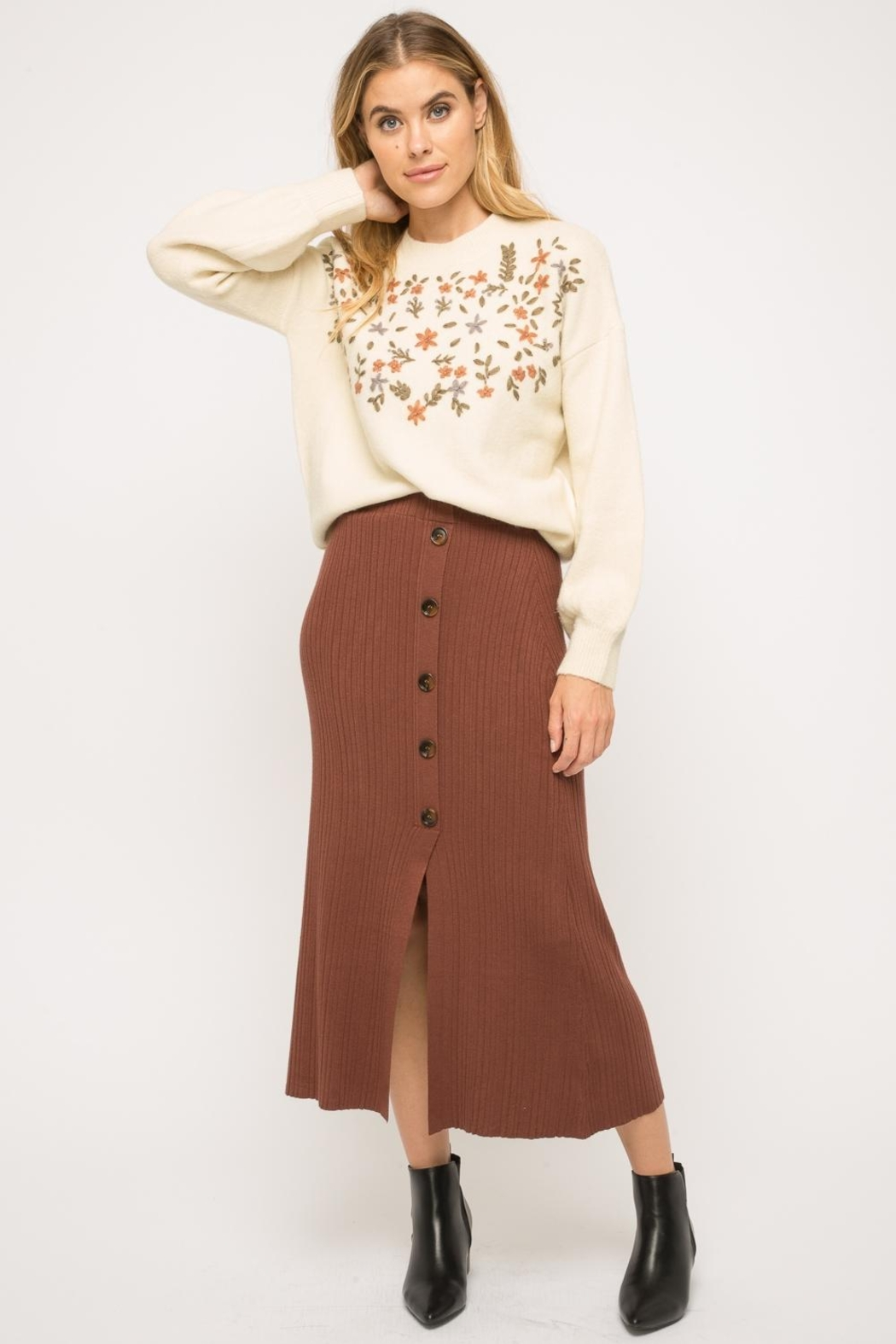 Mystree Button-Up Midi Skirt - Front Cropped Image