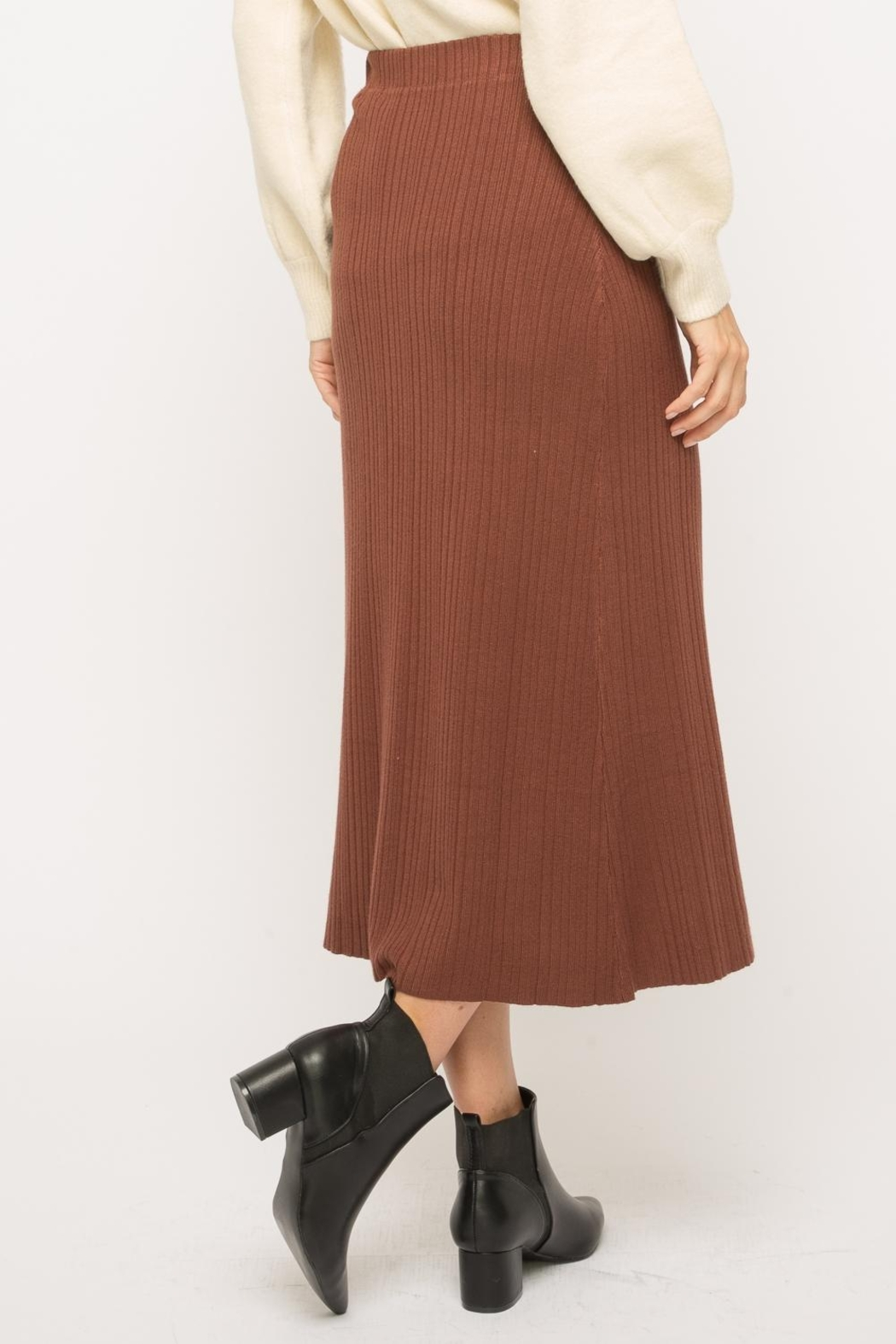 Mystree Button-Up Midi Skirt - Back Cropped Image