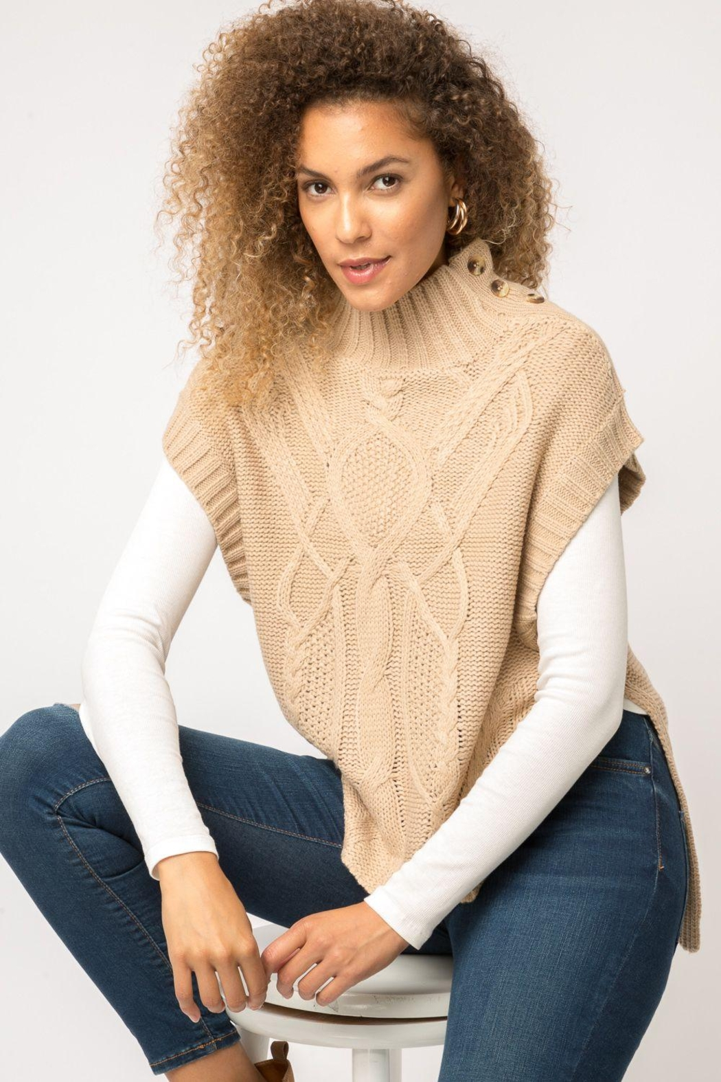 Mystree Cable Knit Sweater-Vest - Front Full Image