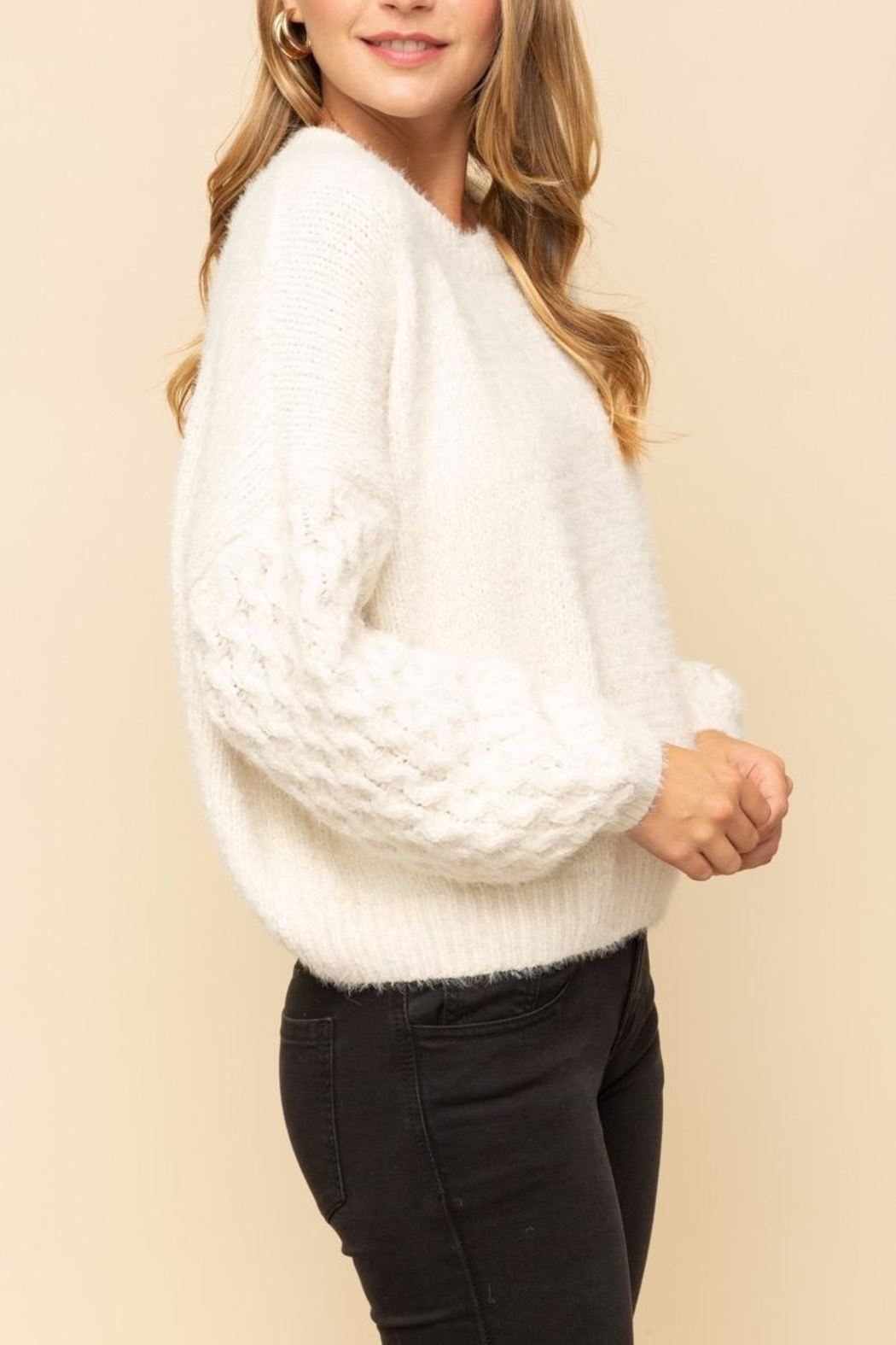 Mystree Cable Sleeve Sweater - Front Full Image