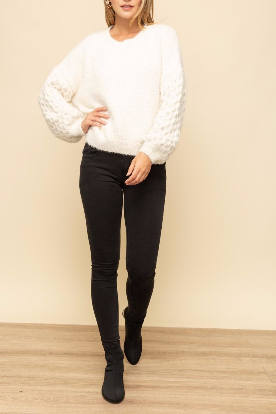 Mystree Cable Sleeve Sweater - Back Cropped Image
