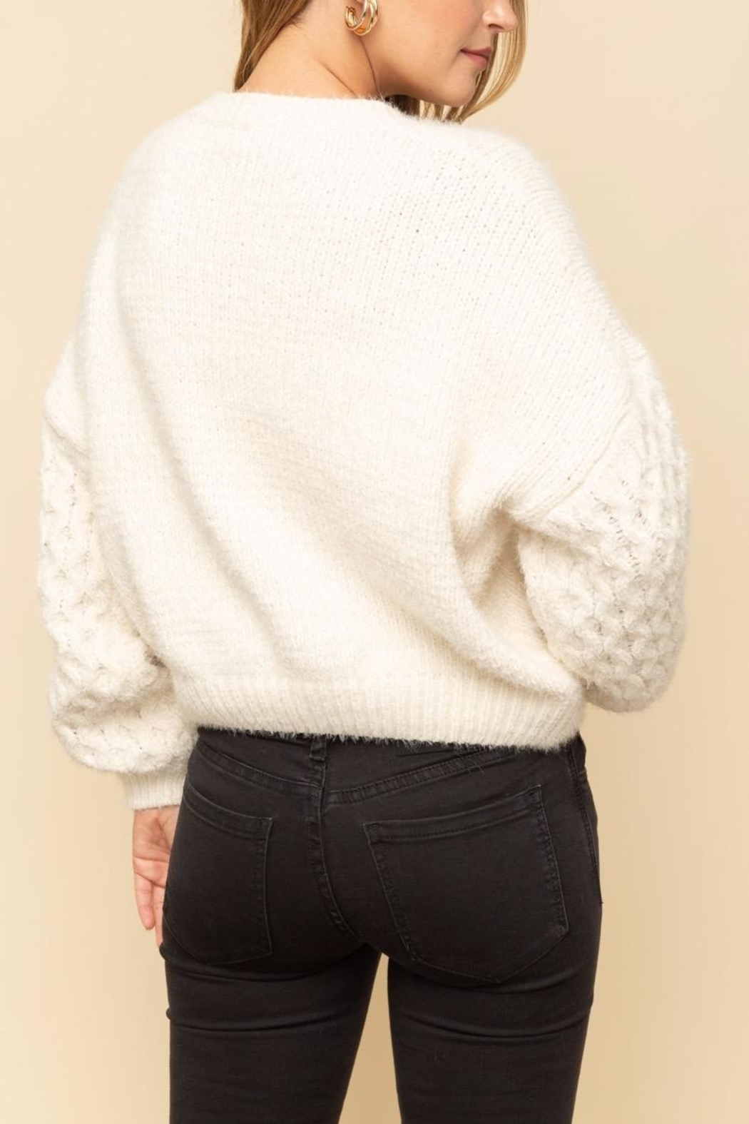 Mystree Cable Sleeve Sweater - Side Cropped Image
