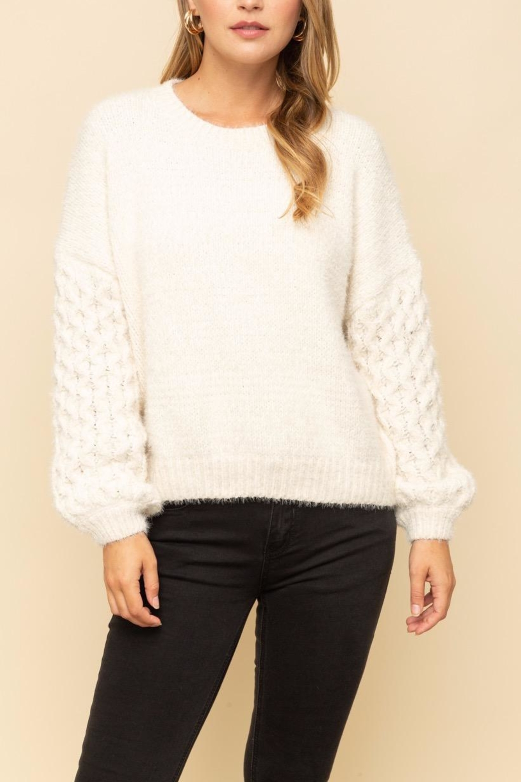 Mystree Cable Sleeve Sweater - Main Image