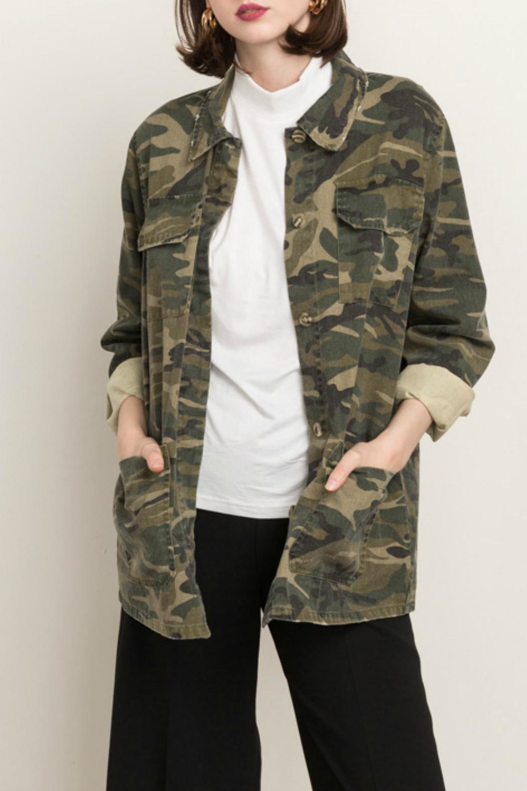 Mystree Camo Army Jacket - Front Cropped Image