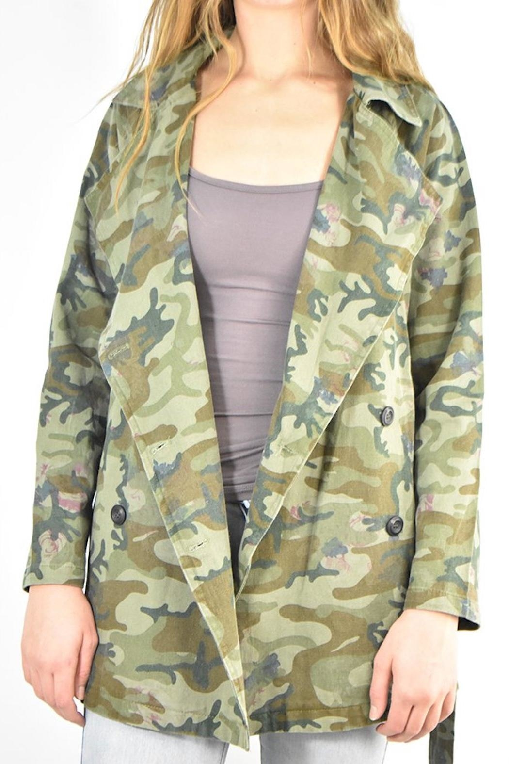 Mystree Camo Trench Jacket - Side Cropped Image
