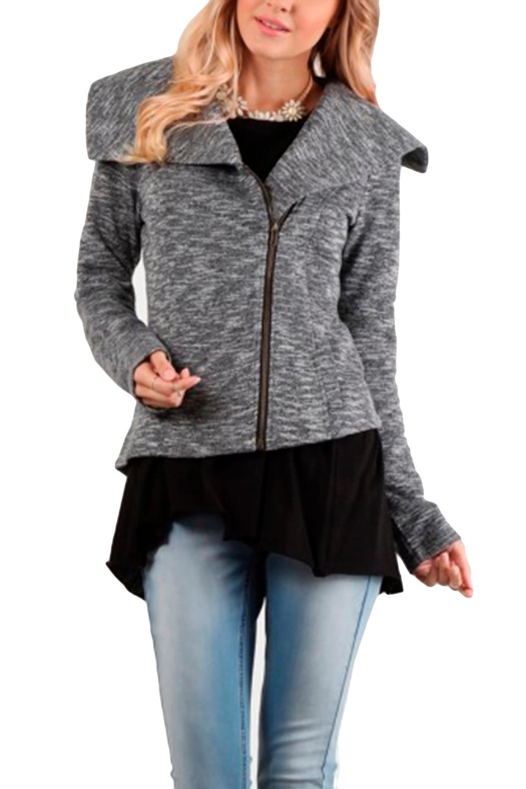 Mystree Charcoal Shawl Jacket - Front Cropped Image