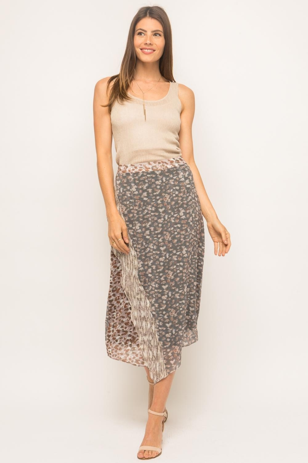 Mystree Cheetah Midi Skirt - Side Cropped Image