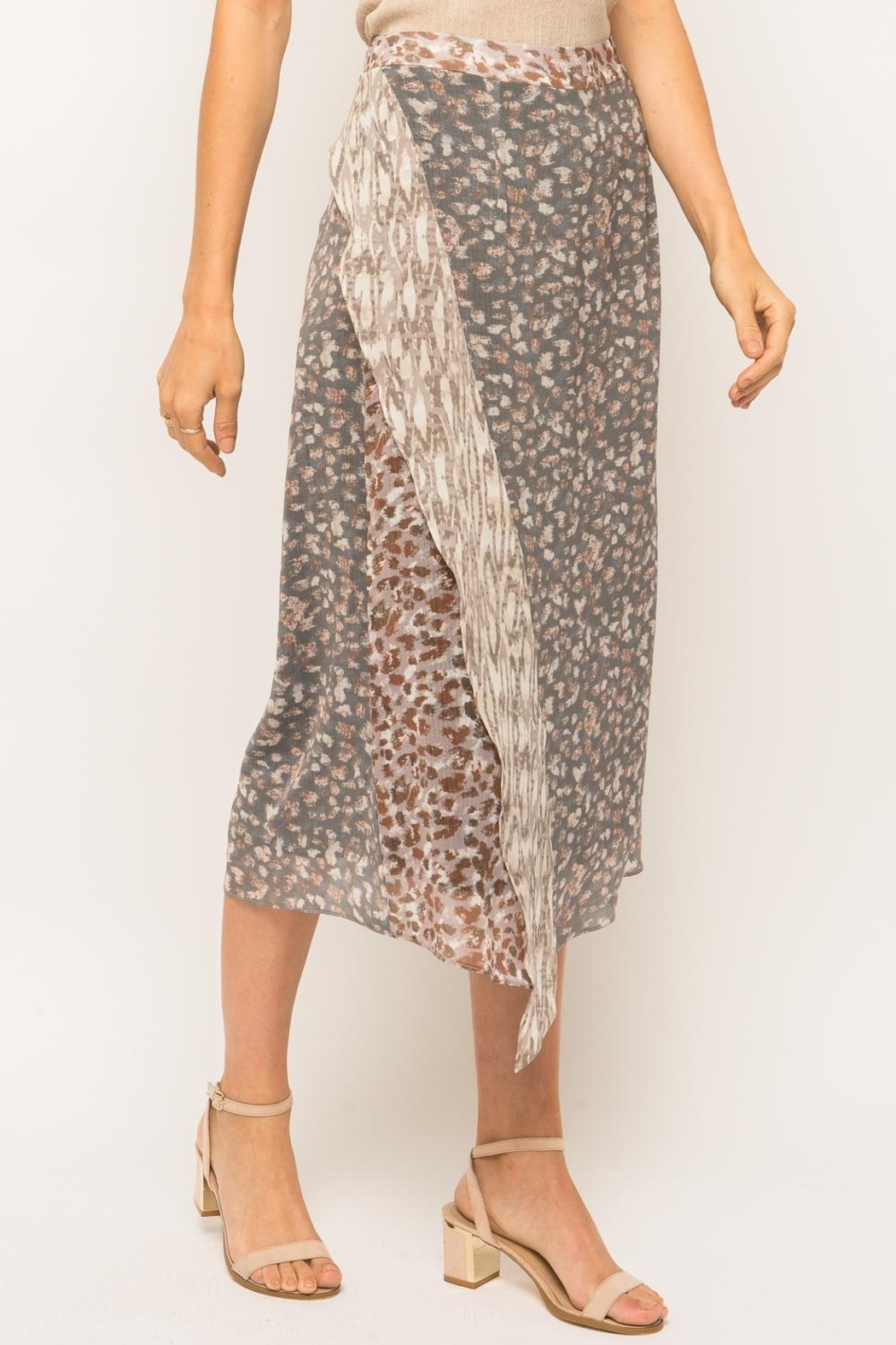 Mystree Cheetah Midi Skirt - Back Cropped Image