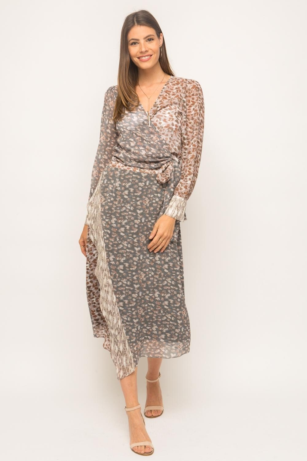 Mystree Cheetah Midi Skirt - Front Cropped Image