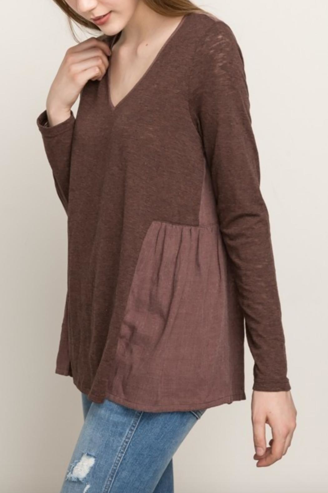 Mystree Chocolate Maroon Blouse - Front Cropped Image