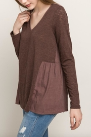 Mystree Chocolate Maroon Blouse - Front cropped