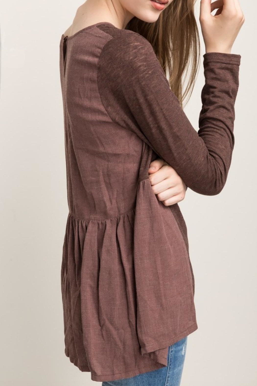 Mystree Chocolate Maroon Blouse - Side Cropped Image