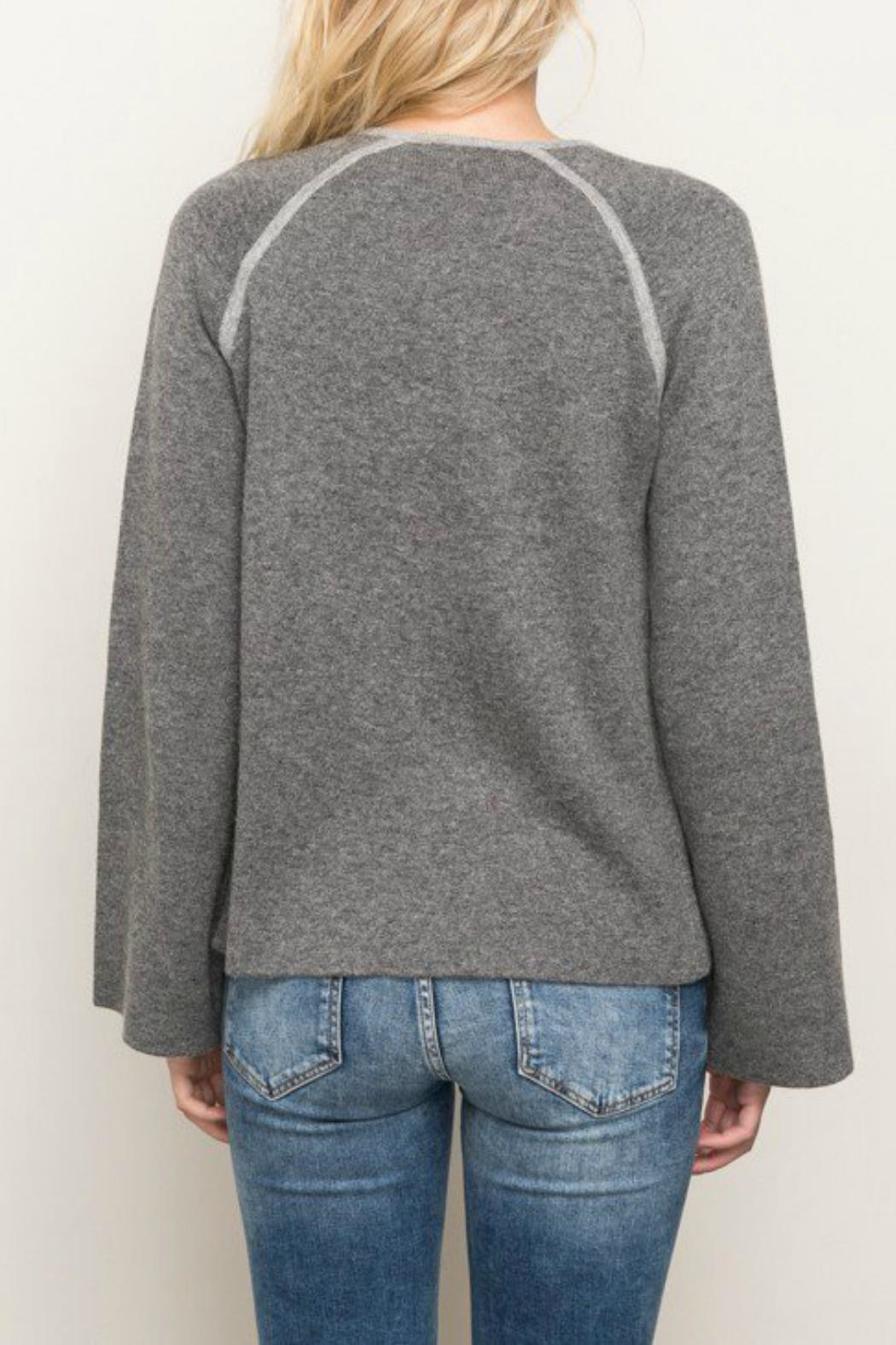 Mystree Contrast Sweater Cardigan - Side Cropped Image
