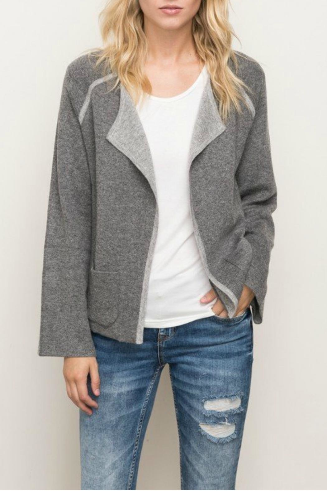 Mystree Contrast Sweater Cardigan - Front Cropped Image