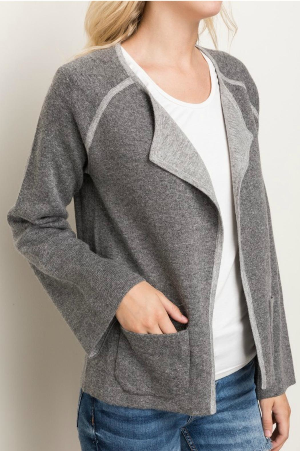 Mystree Contrast Sweater Cardigan - Back Cropped Image