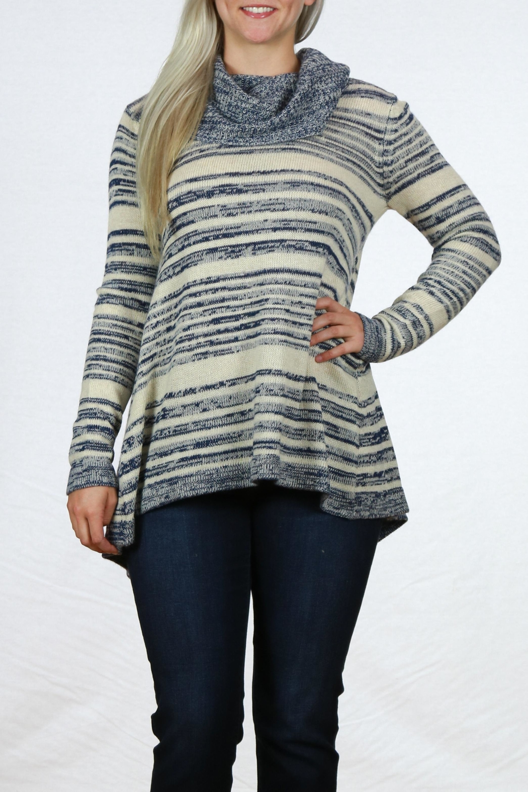 Mystree Cowl Neck Sweater - Front Cropped Image
