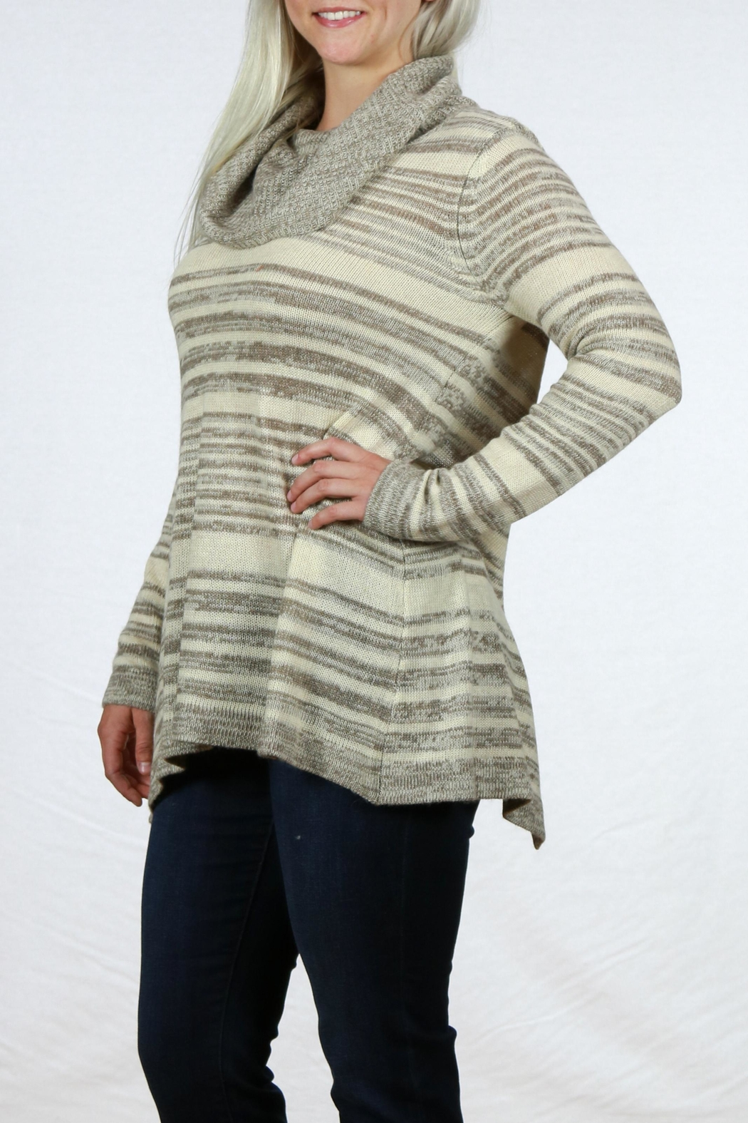 Mystree Cowl Neck Sweater - Back Cropped Image
