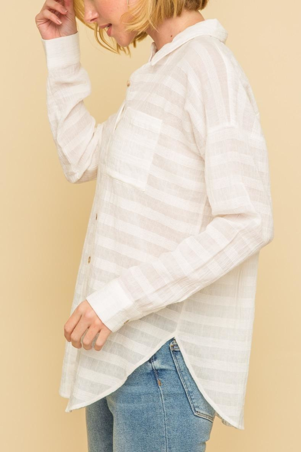 Mystree Crinkle Button Down - Front Full Image