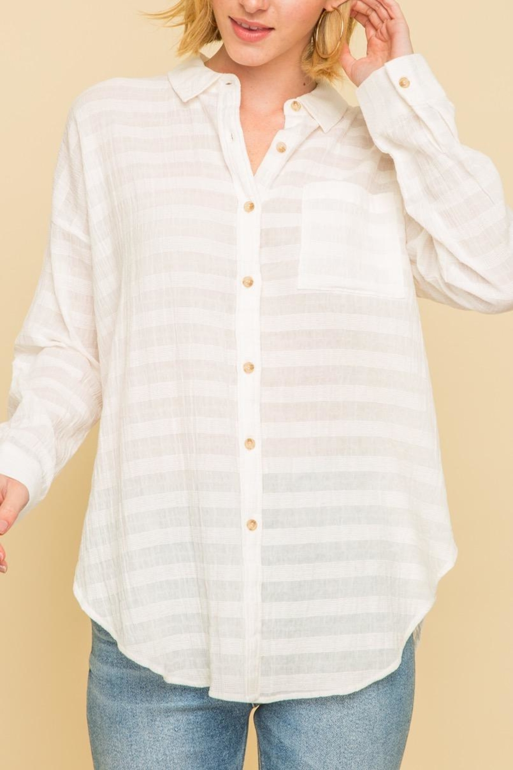Mystree Crinkle Button Down - Main Image