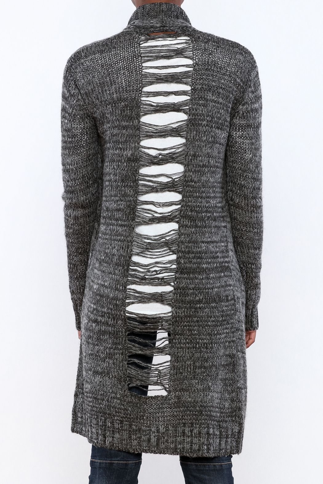 Mystree Deconstructed Knit Cardigan - Back Cropped Image