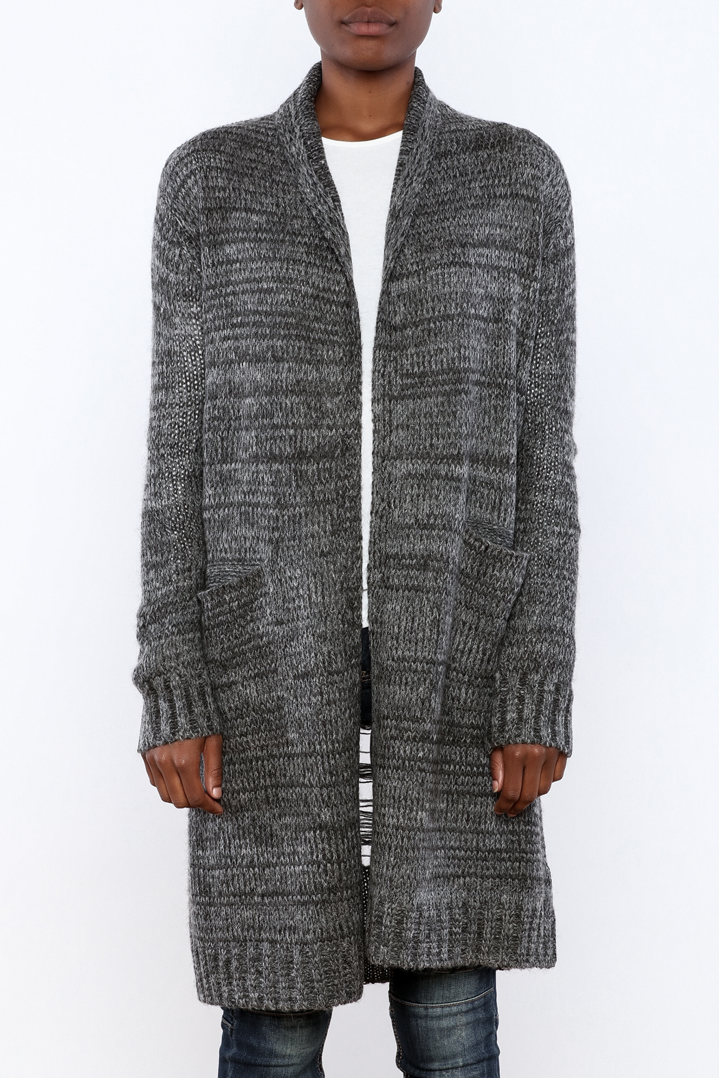 Mystree Deconstructed Knit Cardigan - Side Cropped Image