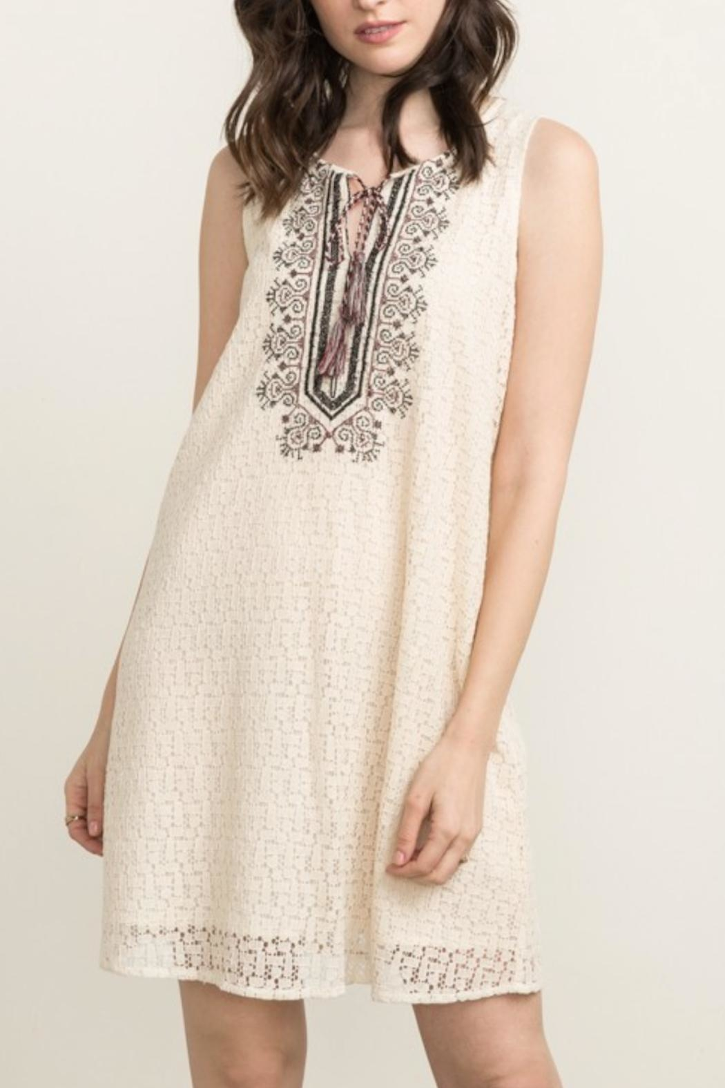 Mystree Embroidered Shift Dress - Front Full Image