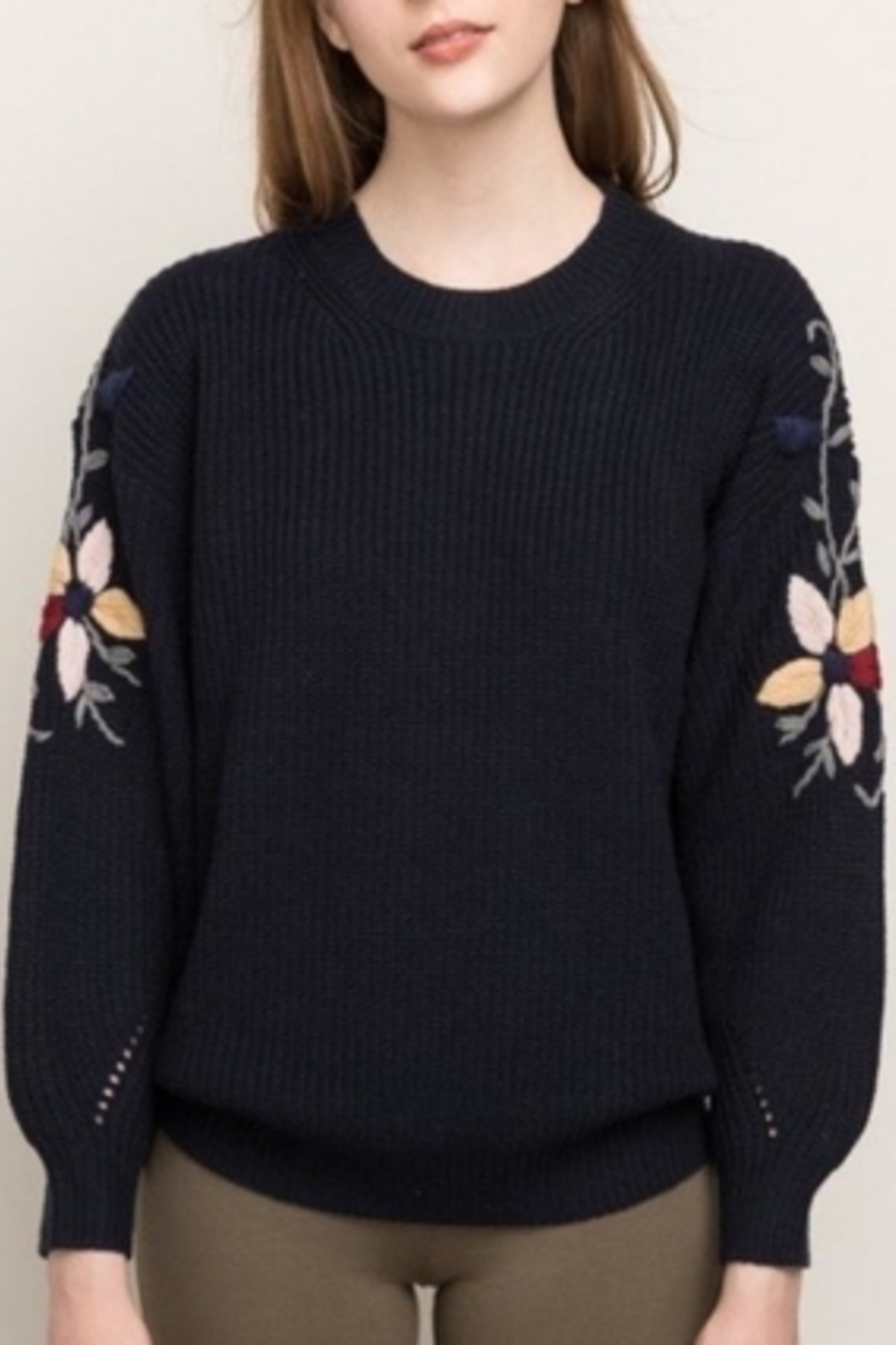 Mystree Embroidered Sleeve Sweater - Side Cropped Image
