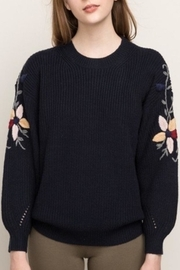 Mystree Embroidered Sleeve Sweater - Side cropped
