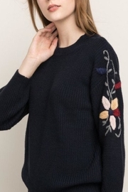 Mystree Embroidered Sleeve Sweater - Front full body