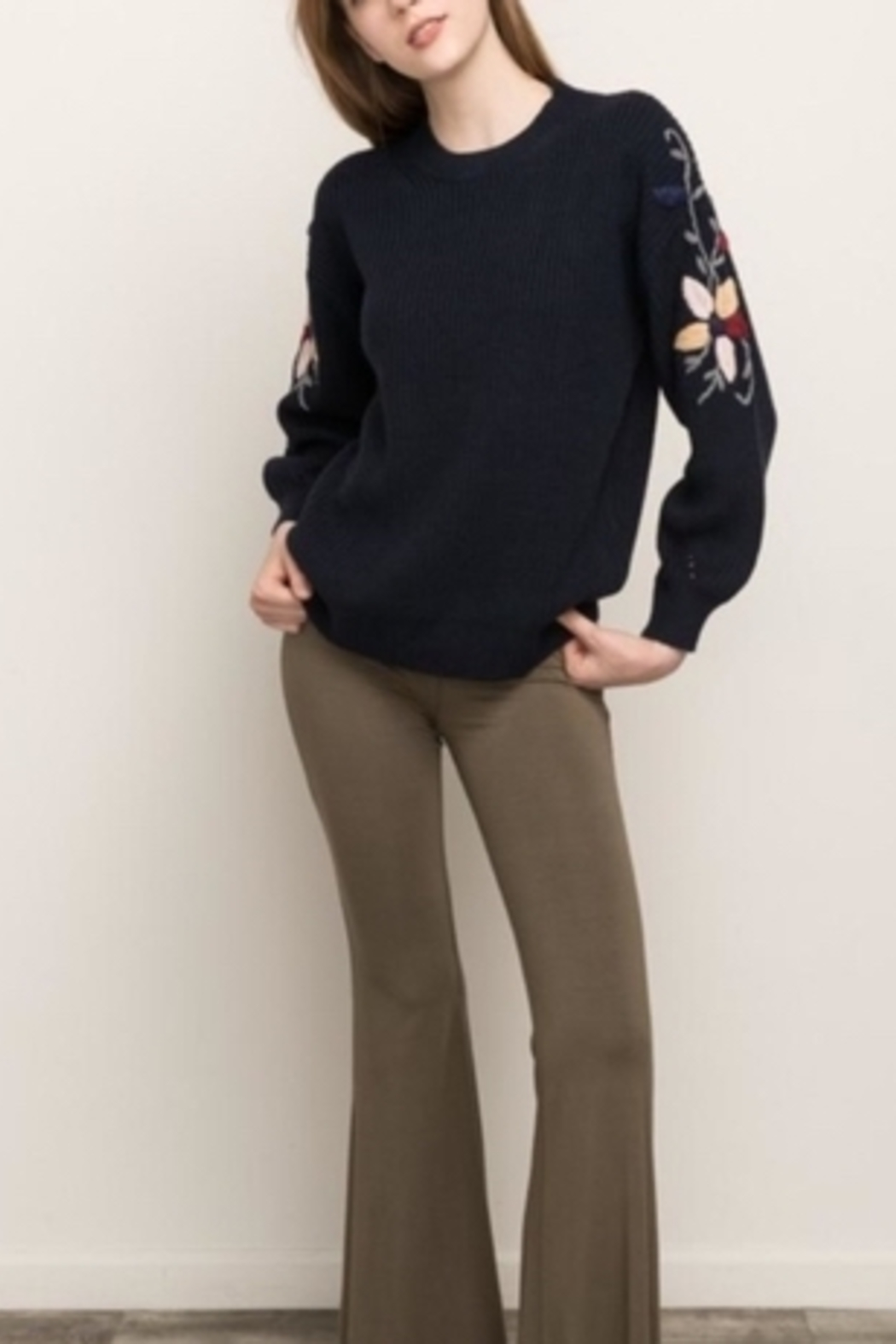 Mystree Embroidered Sleeve Sweater - Back Cropped Image